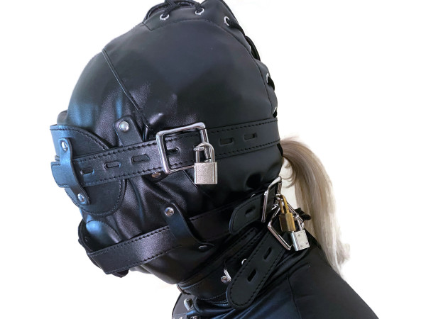Bondage Kopfmaske BDSM SM mit Penis Mundknebel schwarz zum verschnüren