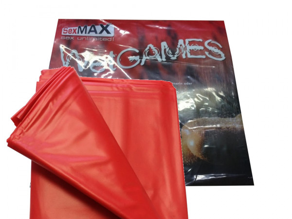Qualtitäts-Laken Sexmax aus Vinyl 180x220cm rot Bettlaken kein Latexlaken